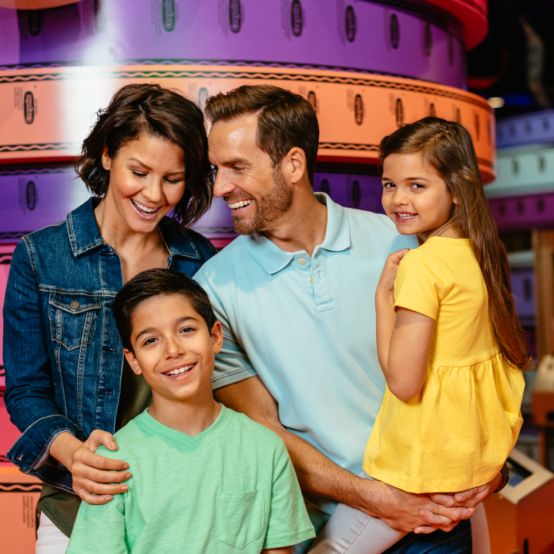 Family with kids having fun at Crayola Experience