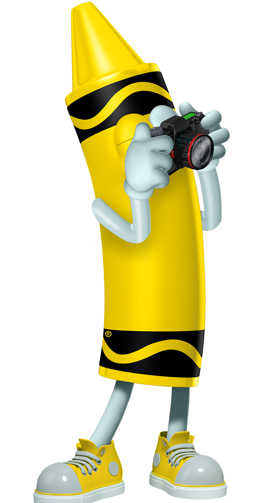 Yellow crayon cartoon character taking a picture