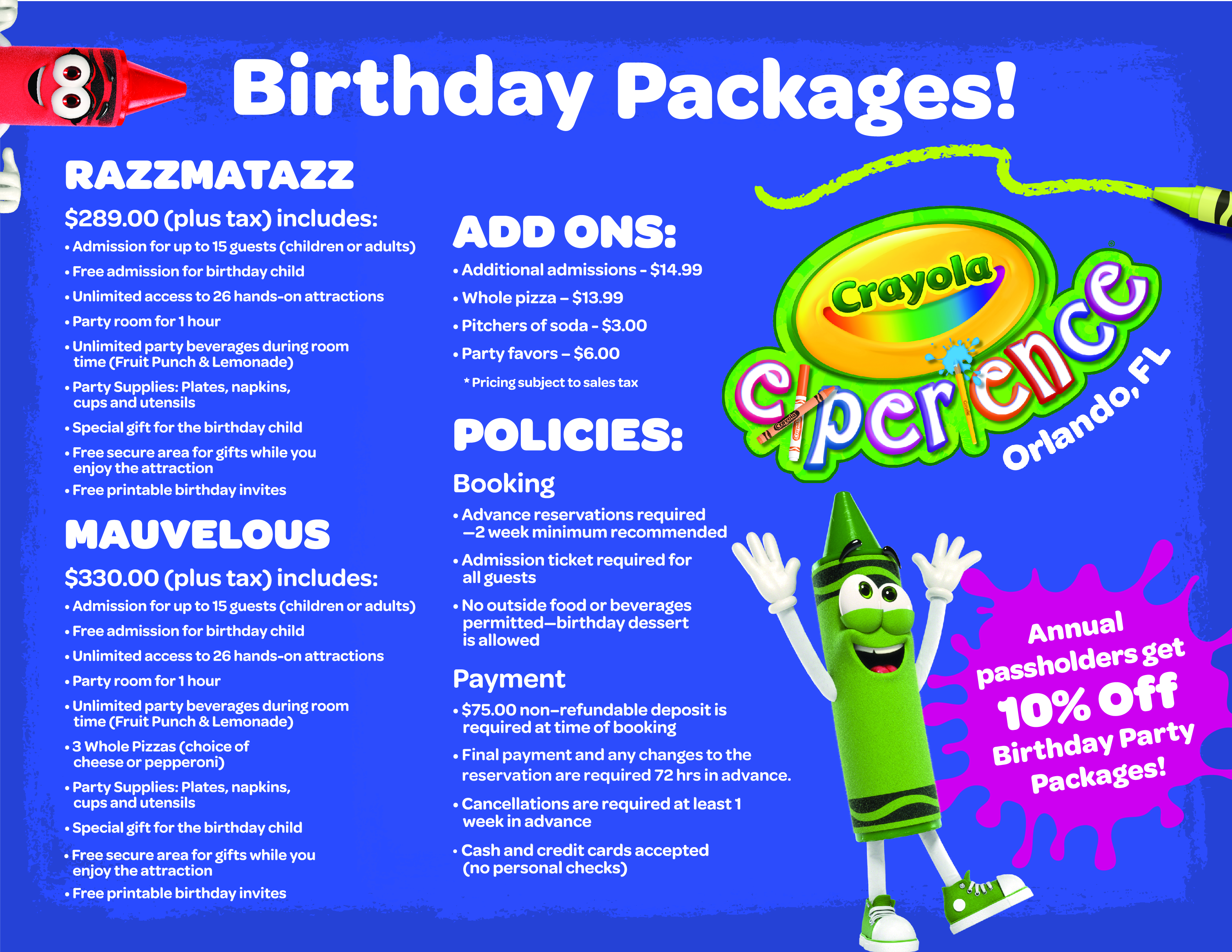 Packages Begin At 289 And Include Admission For 19 Guests Additional May Be Added To Accommodate Your Needs Access A Printable Birthday Package