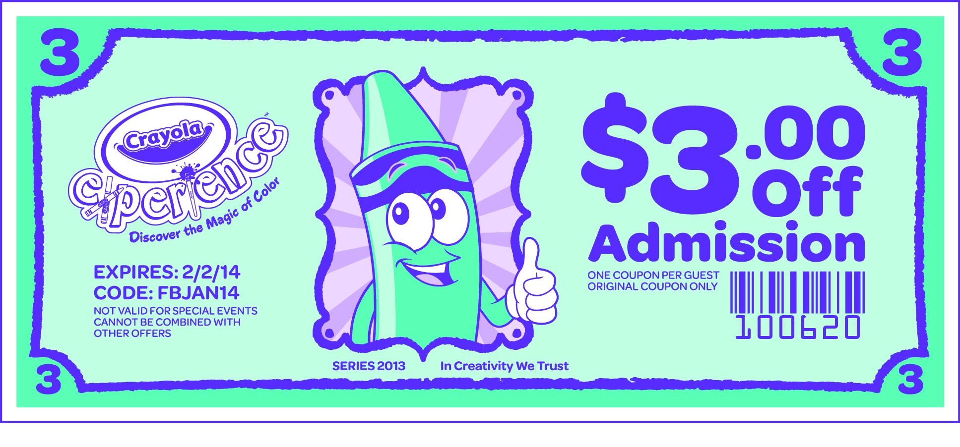 crayola experience coupon codes