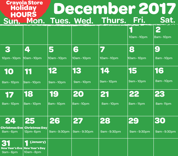 December Holiday Hours Retail