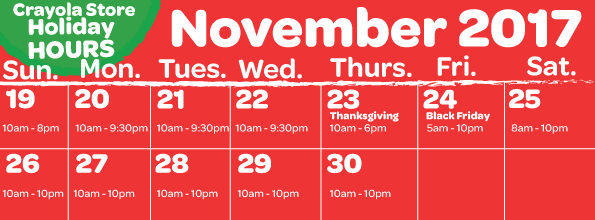 November Holiday Hours Retail